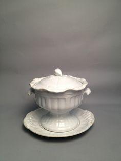 Antique English J Edwards White Ironstone Soup Tureen W/ Under Plate