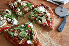 Chicken, Goat Cheeses and Roasted Bell Pepper Pizza