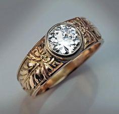 Vintage 1.14 Ct Old European Cut Diamond Men's Ring