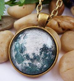 Halskette mit Mond Planet Halskette Männerschmuck von Schmucktruhe