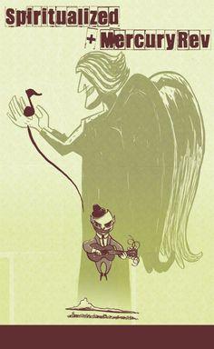 Spiritualized & Mercury Rev concert poster by Alé Mercado