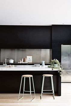 The biggest design trend of 2017 is black kitchens. From black kitchen cabinets to black islands, black in the kitchen is a daring design idea.