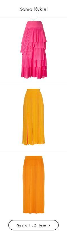"""Sonia Rykiel"" by jckyleeah ❤ liked on Polyvore featuring skirts, sonia rykiel skirt, sonia rykiel, cotton pleated skirt, pleated skirt, tiered skirt, orange multi, stripe skirt, midi skirt and orange pleated skirt"