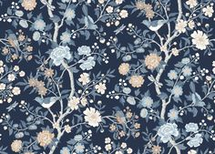 Emily for Lexington is inspired by a fragment of old Cretonne-patterned wallpaper found in a New England archive. Bold tree patterns with birds like these were popular in the USA in the late Emily is printed using an old collograph printing techni Emily Dickinson, Tree Patterns, Blue Tones, Wall Treatments, Pattern Wallpaper, Interior Inspiration, New England, Floral Design, Home And Garden