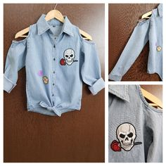 Hurry before stock runs out: Patched - Denim C..., visit http://ftfy.bargains/products/patched-denim-cold-shoulder-shirt-with-front-knot-devil-love?utm_campaign=social_autopilot&utm_source=pin&utm_medium=pin  #amazing #affordable #fashion #stylish