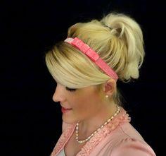 Frosted hot pink small bow stretch headband feminine/romantic/classic. $7.50, via Etsy.