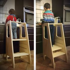 The Montessori method encourages children to take part in the activity ., Best Picture For Montessori quarto For Your Taste You are looking for something Toddler Kitchen Stool, Kitchen Stools, Kitchen Flooring, Wood Projects, Woodworking Projects, Learning Tower, Kitchen Helper, Toddler Learning, Baby Kind