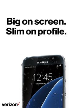 The Samsung Galaxy S7 proves that less can actually be more. The big screen on an incredibly slim design keeps you fully engaged in movies, games and more. Plus, with the always on display, you get the time or notifications without waking your screen. Order yours today on Verizon.