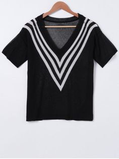 SHARE & Get it FREE | Stylish V-Neck Stripe Print Short Sleeves Knit Top For WomenFor Fashion Lovers only:80,000+ Items • New Arrivals Daily • FREE SHIPPING Affordable Casual to Chic for Every Occasion Join RoseGal: Get YOUR $50 NOW!