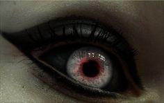 red eyes, blue eyes, pale skin, black eyeliner & eyeshadow