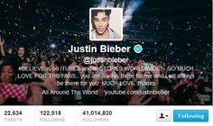 #41MillionStrong: Justin Bieber reaches 41 million followers on Twitter