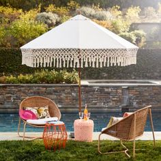 Natural 9 Ft Outdoor Umbrella Canopy with Fringe - World Market Outdoor Furniture, Best Outdoor Furniture, Backyard Furniture, Parasol, Outdoor Stools, Outdoor Decor, Outdoor Spaces, Outdoor Living, Canopy