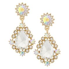 "‼️PRICE FIRM‼️Glass Enchanted Earrings Gold Tone / Clear Glass & Rhinestone / Lead&nickel Compliant / Post / Teardrop / Dangle / Earring Set  •   DROP LENGTH : 1 3/8""  •   GOLD/CLEAR R.E.A.L Jewelry Jewelry Earrings"