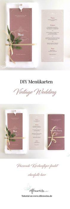 DIY Menükarten für eure Vintage Hochzeit - wenn ihr erfahren wollt, wie ihr diese doityourself Flyer für die Hochzeit selber gestalten könnt, dann folgt dem Link au elfenweiss.de