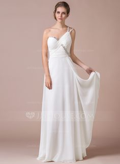A-Line/Princess One-Shoulder Floor-Length Ruffle Beading Sequins Zipper Up Regular Straps Sleeveless No Ivory Spring Summer Fall General Plus Chiffon Prom Dress
