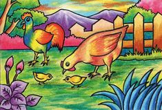 Chicken is scavenging food - Tri Harianto Drawing Classes For Kids, Scenery Drawing For Kids, Easy Drawings For Kids, Art Lessons For Kids, Oil Pastel Paintings, Oil Pastel Art, Oil Pastel Drawings, Easy Drawings Sketches, Bird Drawings