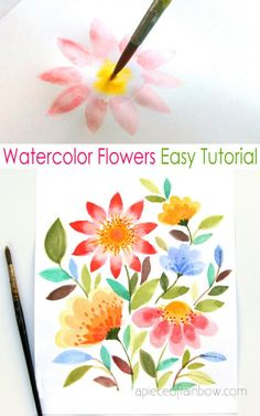 Flower Painting Discover Paint Watercolor Flowers in 15 Minutes - Easy & beautiful watercolor flowers colorful bouquet in 15 minutes: how to paint simple loose floral in watercolour step by step tutorial for beginners! Watercolor Beginner, Watercolor Paintings For Beginners, Step By Step Watercolor, Easy Watercolor, Easy Paintings, Flower Paintings, Abstract Watercolor, Watercolour For Kids, Simple Paintings For Beginners