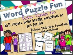 Word or Rebus puzzles are great activities for students.  My students love to figure out these puzzles.  This product is perfect for individual, group or whole class work.  You can use them as bell ringers, small group tasks or individual worksheets.  It is also a great substitute lesson that the kids will love.