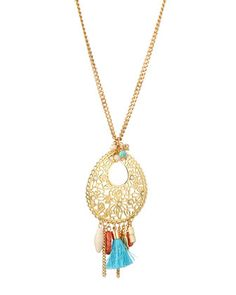 Filigree Pendant Necklace w/Tassel by Greenbeads by Emily & Ashley at Neiman Marcus Last Call.