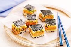 For a little lunch inspiration, make these colourful sushi slices for the family.