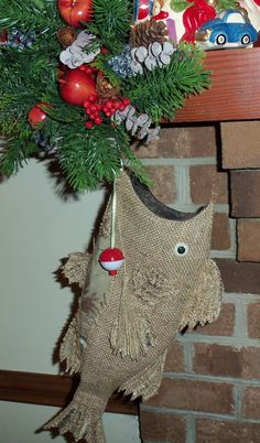 Burlap Christmas Fish Stocking with Camo by SouthernComfortable, $40.00