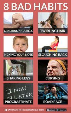 The habit that you shouldn't do for pink English Vinglish, English Verbs, English Sentences, Learn English Grammar, English Writing Skills, English Vocabulary Words, English Tips, Learn English Words, English Phrases