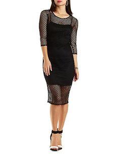 Mesh Bodycon Midi Dress#charlotterusse #charlottelook