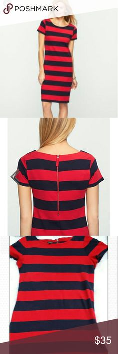 Talbots Bold Striped T-shirt dress Red and navy blue stripes dress.  Short sleeve - visible back zip-length from shoulders to bottom hem is 40 inches. (100% cotton) Talbots Dresses Midi
