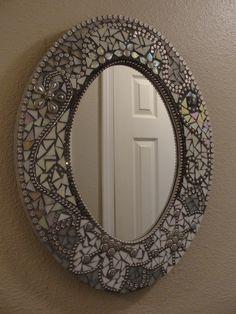 Mosaic Mirror - White/gray/silver - Beautiful!
