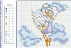 Centrum.sk email Baby Cross Stitch Patterns, Cross Stitch Baby, Cross Stitch Charts, Cross Stitch Designs, Baby Samples, Baby Afghans, Stork, Animal Design, Baby Love