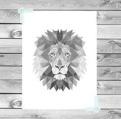 Printable Art Poster Print Black White Grey Lion by DesignClaud