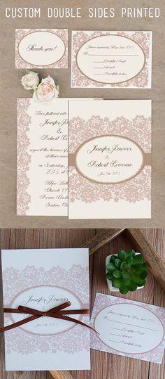 printed lace and ribbon vintage blush pink wedding invitations