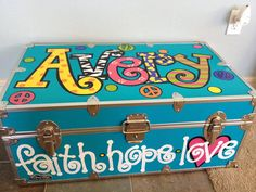 Handpainted Trunk by thatssonif on Etsy Summer Camp Packing, Camping Packing, Camping Life, Camping With Kids, Kids Camp, Camping Ideas, Painted Trunk, Painted Chest, Hand Painted