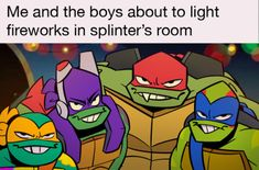 """mintywhisker: """"me and the boys hope you had an enjoyable day of explosions fourth of july """" Teenage Ninja Turtles, Ninja Turtles Art, Tmnt Swag, Funny Quotes For Kids, Writing Art, Fan Art, Cartoon Shows, Drawing Reference, Cute Art"""