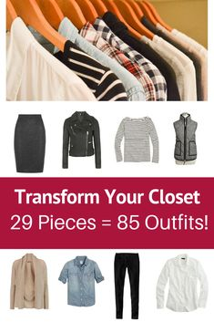 Transform Your Closet with The Essential Capsule Wardrobe: Winter 2015 Collection. Turn 29 Pieces into 85 Outfits! Checklist, weekend packing guide & week vacation packing guide included. #capsulewardrobe #closet #wardrobe #clothes