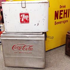 I love these Antique / Vintage Soda Pop Bottle Coolers !! ..... I found these while antique hunting at an Antique Mall ...... If you like Antique / Flea Market / Vintage hunting ...... Download the Resource App FLEATIQUE on the Apple App Store for IPhone 5 IPhone 5S IPhone 5C ... American pickers junk gypsy gypsies junkin antiques roadshow cocacola 7up rootbeer root beer Pepsi coca cola soda pop bottles bottle fleamarket retro old rusty gold finds find store mall shop market Dallas Nashville