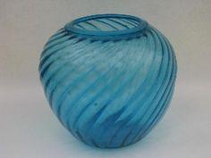 hand-blown swirled aqua blue glassware, vintage Mexican glass, big chunky vase