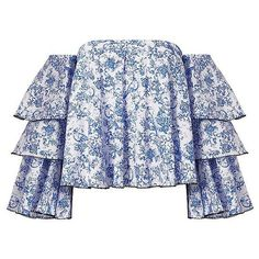 Caroline Constas Women's Carmen Blue Toile Off-The-Shoulder Top ($495) ❤ liked on Polyvore featuring tops, blue off shoulder top, blue off the shoulder top, tiered top, off shoulder long sleeve top and floral tops