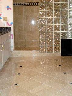 1 by1 glass tile as a border on a bathroom floor? - Bathrooms Forum - GardenWeb