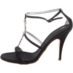 Pre-owned Giuseppe Zanotti Satin Jewel Sandals ($75) ❤ liked on Polyvore featuring shoes, sandals, black, buckle sandals, black shoes, satin sandals, satin shoes and jewel shoes