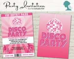 Disco Dance Party Invitation $10AUD by The Digi Dame Printable Party Decor. Visit thedigidame.com to purchase!