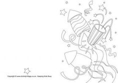 New Year Rockets Colouring Card