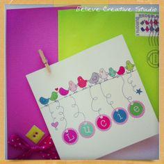 design by Believe Creative Studio baby birth announcement card #baby #colors #designs  ©2013Believe Creative Studio