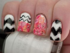 Inspired by a Pattern: Chevrons and Flowers. Linkup with Fancyside Nails and Of Life and Lacquer