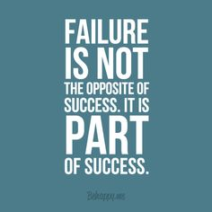 """In-your-face Poster """"Failure is not the opposite of success. it is part of success."""" #19621 - Behappy.me"""