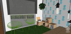 A sala de reuniões é informal e acolhedora, funciona muito bem também como sala de estar. Os nichos em compensado OSB podem ser customizados e reorganizados, servem como estantes ou banquinhos. As cadeiras em verde vibrante harmonizam bem com o azul das paredes e trazem um ar mais cool ao espaço. O piso é um tapete de grama sintética.
