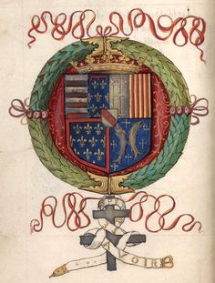 J'ESPERE AVOIR -- Armes et devise d'Antoine, duc de Lorraine (f°1v). -- «Le blason de l'escu de Lorraine avec le grand mercy de Emond du Boullay, le tout dédié a l'honneur & louenge de Treshaut, trespuissant & tresillustre prince Anthoine par la grace de dieu duc de Calabre de lorrraine de bar & de gueldre &ct», par Edmond du Boullay, 1542 [BM de Nancy, Ms 873]. -- Présentation ici: http://bmn-renaissance.nancy.fr/items/show/1221