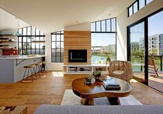 Modern Floating House in San Francisco Leaves You Speechless. fireplace contrast
