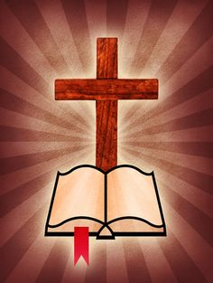 A cross and Bible icon on a burst background.Please visit my stockxpert gallery:http://www.stockxpert.com ..