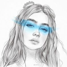 ✧・゚. angrydinosaurx ✧* Pencil Portrait, Blue Drawings, Space Drawings, Hair Drawings, Pencil Drawings, Face Outline, Outline Art, Sad Girl Drawing, Grunge Art